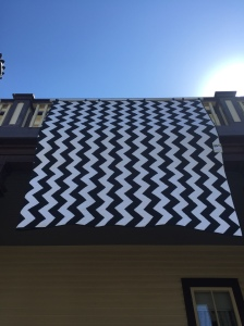 Blue and White Chevron Quilt
